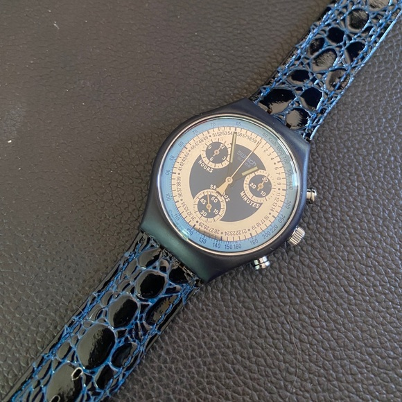Swatch Other - SWATCH 1992 Chrono Retro Collectors Leather Watch